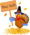 turkey holding a sign that says Stay Safe