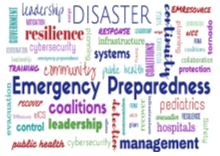 collage of words including Emergency Preparedness in many colors