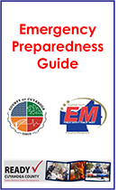 red words Emergency Preparedness Guide with logos beneath