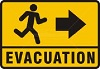 yellow sign with black running figure
