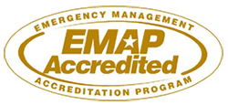 gold letters that spell EMAP Acredited